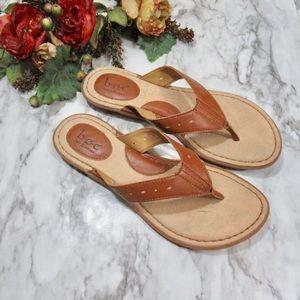 Born Tan Leather Flip Flops